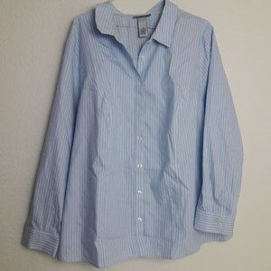Catherine's 1X Striped Career Blouse Button up